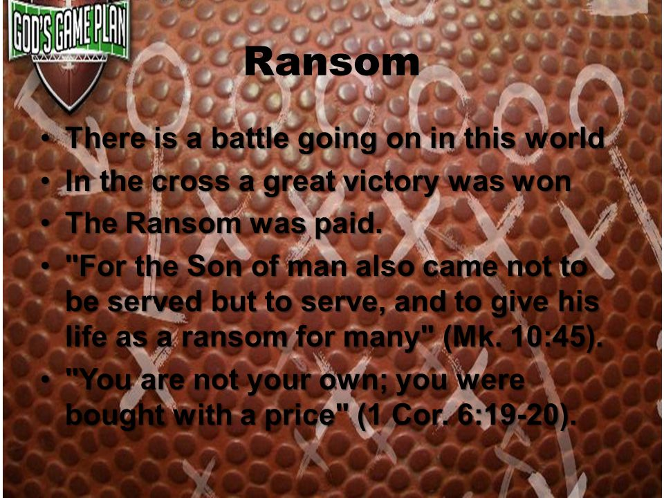 Ransom There is a battle going on in this worldThere is a battle going on in this world In the cross a great victory was wonIn the cross a great victo