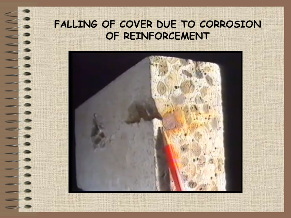 FALLING OF COVER DUE TO CORROSION OF REINFORCEMENT