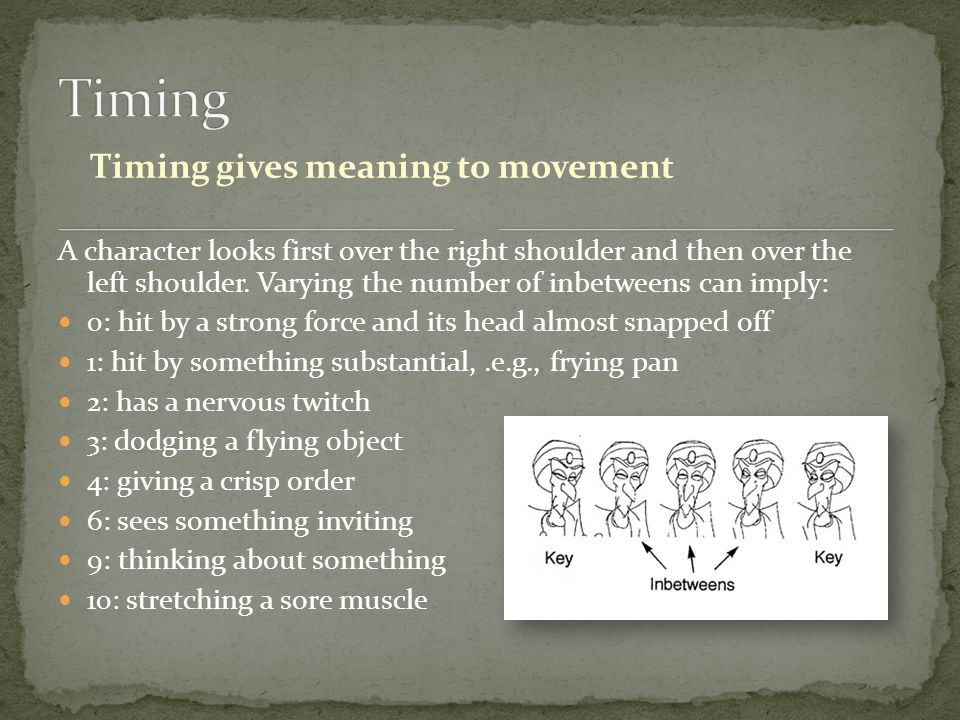 Timing gives meaning to movement A character looks first over the right shoulder and then over the left shoulder.