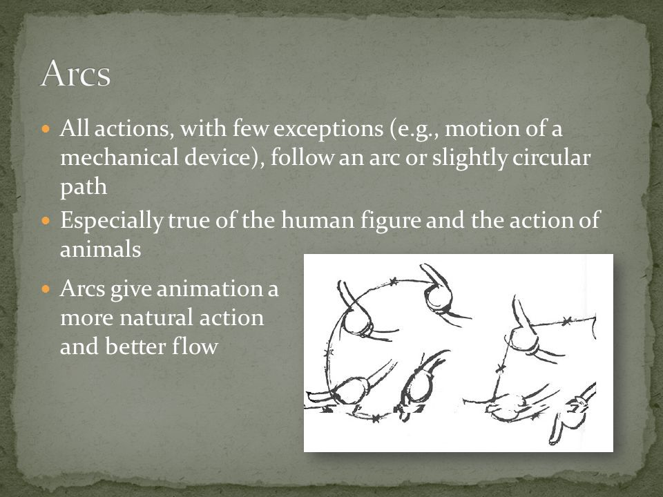 All actions, with few exceptions (e.g., motion of a mechanical device), follow an arc or slightly circular path Especially true of the human figure and the action of animals Arcs give animation a more natural action and better flow