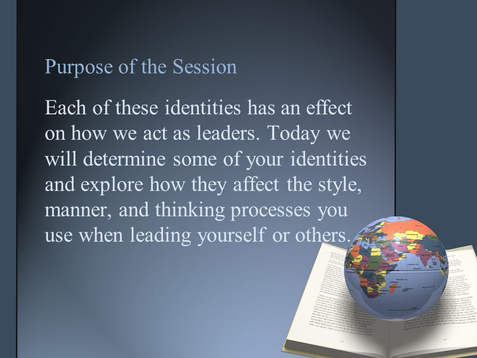 Purpose of the Session Each of these identities has an effect on how we act as leaders.