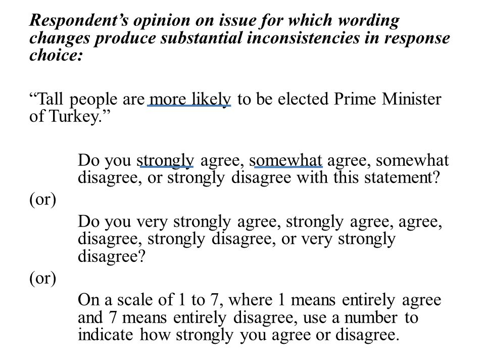 Respondent's opinion on issue for which wording changes produce substantial inconsistencies in response choice: Tall people are more likely to be elected Prime Minister of Turkey. Do you strongly agree, somewhat agree, somewhat disagree, or strongly disagree with this statement.