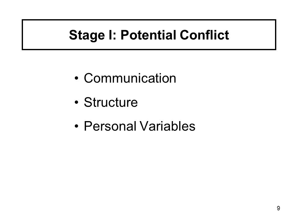 9 Communication Structure Personal Variables Stage I: Potential Conflict