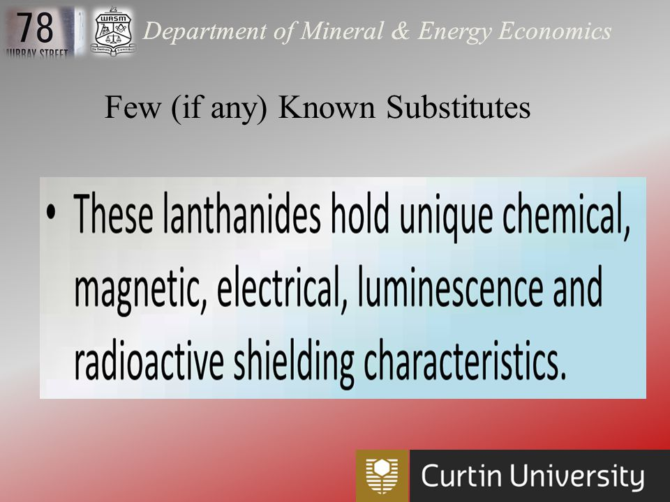 Department of Mineral & Energy Economics China's export and tax regimes on Rare Earth Oxides, element and metals restricts supply outside of China and could be seen as a lure to bring Rare Earth Technology manufacturing facilities into China where the export quotas do not apply. Leveraging Resource Advantages Source: USGS