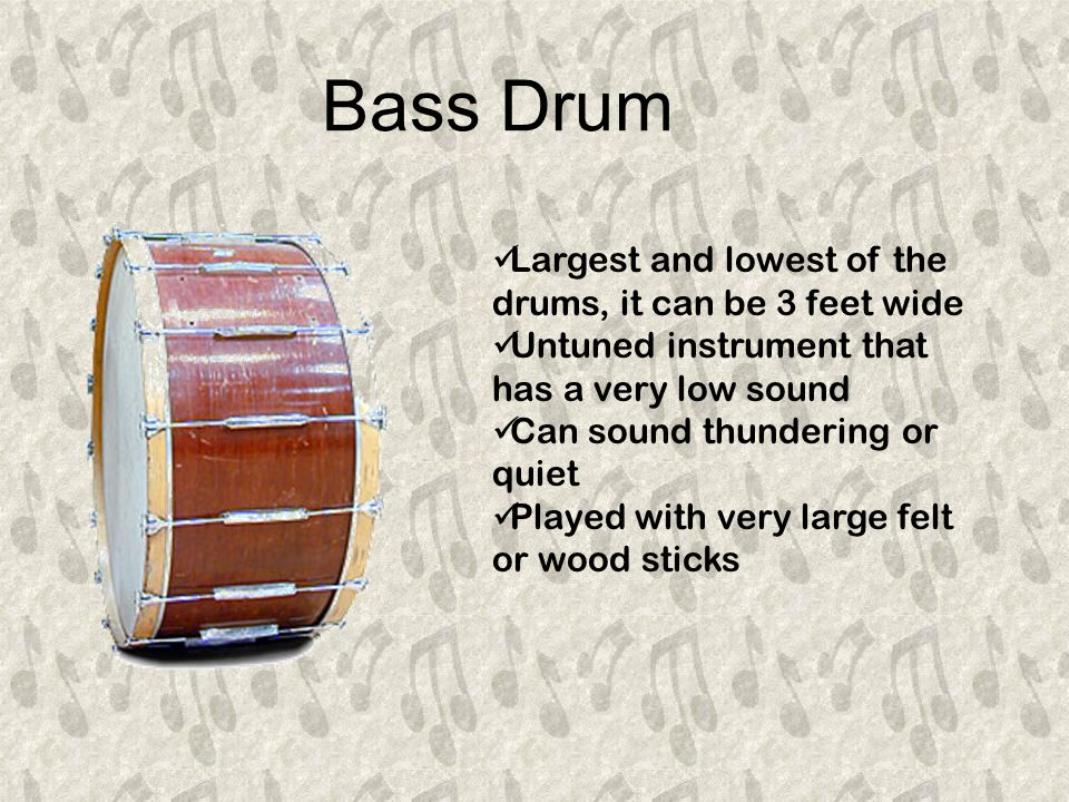 Snare Drum Has two heads, either calf skin or usually plastic The top, batter head , is played The bottom, snare head , has gut or metal snares stretched across it The snares vibrate when the drum is beaten giving a rattle or buzz sound Played with wooden sticks