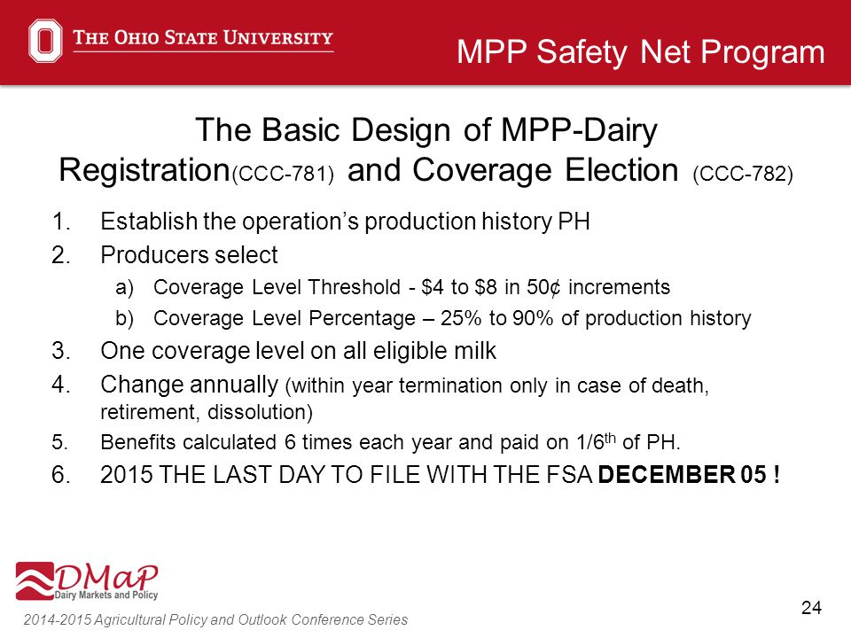 24 2014-2015 Agricultural Policy and Outlook Conference Series The Basic Design of MPP-Dairy Registration (CCC-781) and Coverage Election (CCC-782) 1.