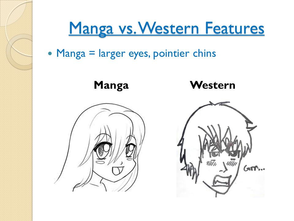 Manga vs. Western Features Manga = larger eyes, pointier chins Manga Western