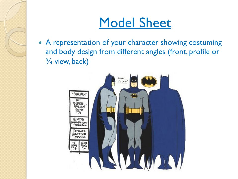 Model Sheet A representation of your character showing costuming and body design from different angles (front, profile or ¾ view, back)