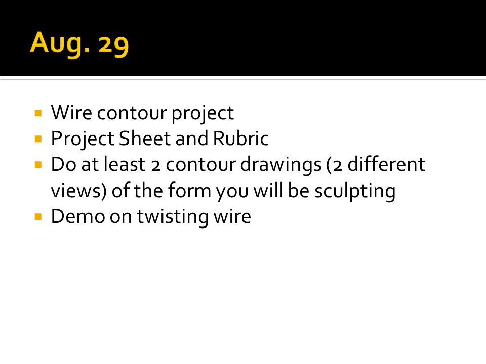  Wire contour project  Project Sheet and Rubric  Do at least 2 contour drawings (2 different views) of the form you will be sculpting  Demo on twisting wire