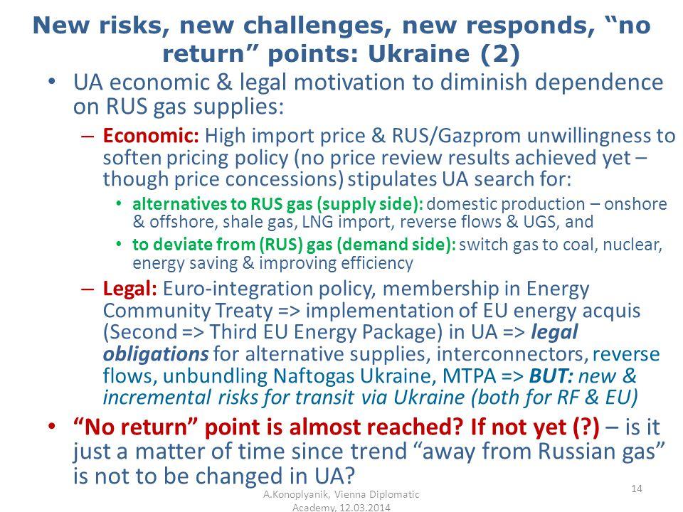 "New risks, new challenges, new responds, ""no return"" points: Ukraine (2) UA economic & legal motivation to diminish dependence on RUS gas supplies: –"