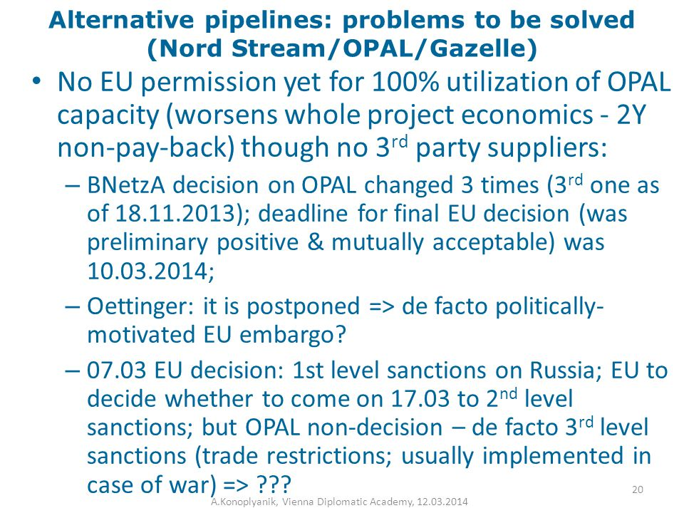 Alternative pipelines: problems to be solved (Nord Stream/OPAL/Gazelle) No EU permission yet for 100% utilization of OPAL capacity (worsens whole proj