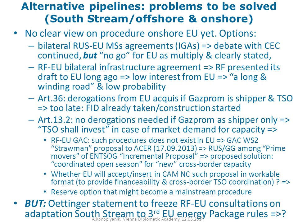 Alternative pipelines: problems to be solved (South Stream/offshore & onshore) No clear view on procedure onshore EU yet. Options: – bilateral RUS-EU