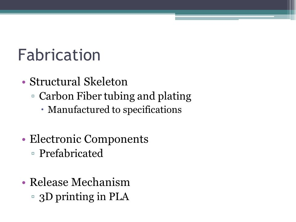 Fabrication Structural Skeleton ▫Carbon Fiber tubing and plating  Manufactured to specifications Electronic Components ▫Prefabricated Release Mechanism ▫3D printing in PLA