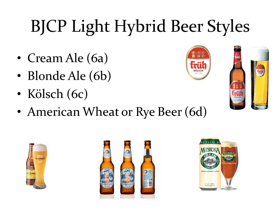 BJCP Light Hybrid Beer Styles Cream Ale (6a) Blonde Ale (6b) Kölsch (6c) American Wheat or Rye Beer (6d)