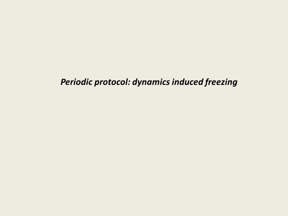 Periodic protocol: dynamics induced freezing
