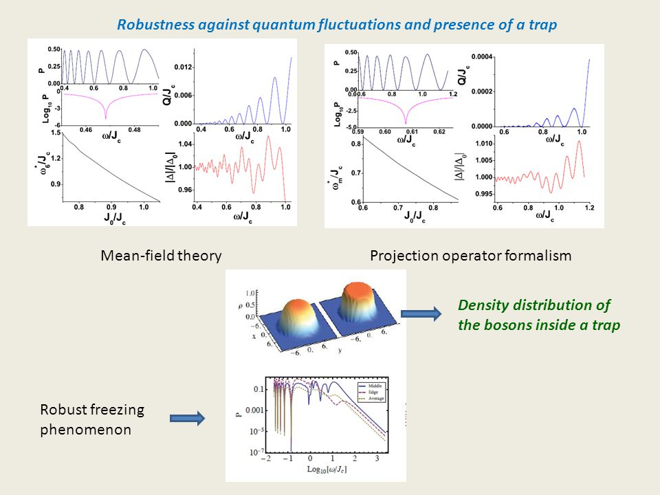 Robustness against quantum fluctuations and presence of a trap Mean-field theoryProjection operator formalism Density distribution of the bosons inside a trap Robust freezing phenomenon
