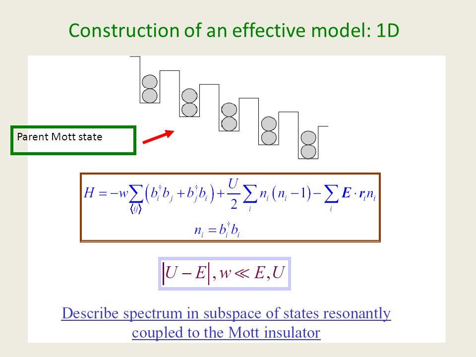 Construction of an effective model: 1D Parent Mott state