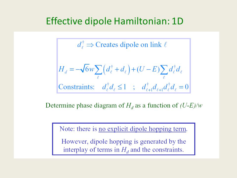 Effective dipole Hamiltonian: 1D