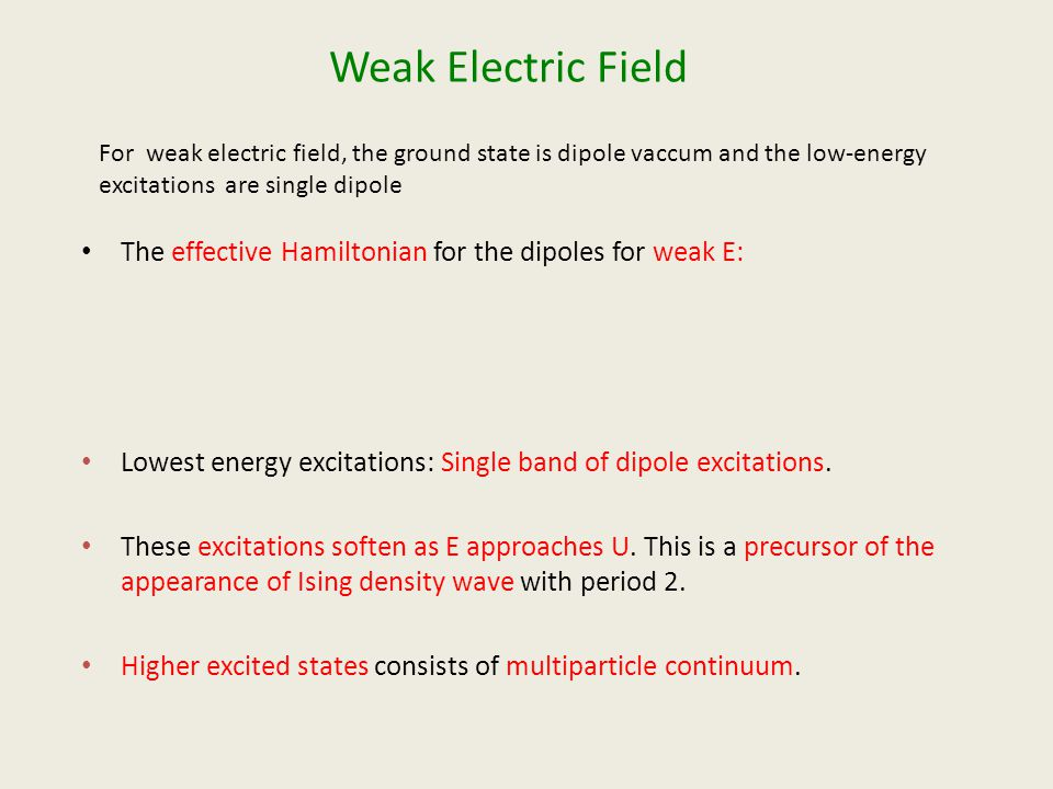 Weak Electric Field The effective Hamiltonian for the dipoles for weak E: Lowest energy excitations: Single band of dipole excitations.