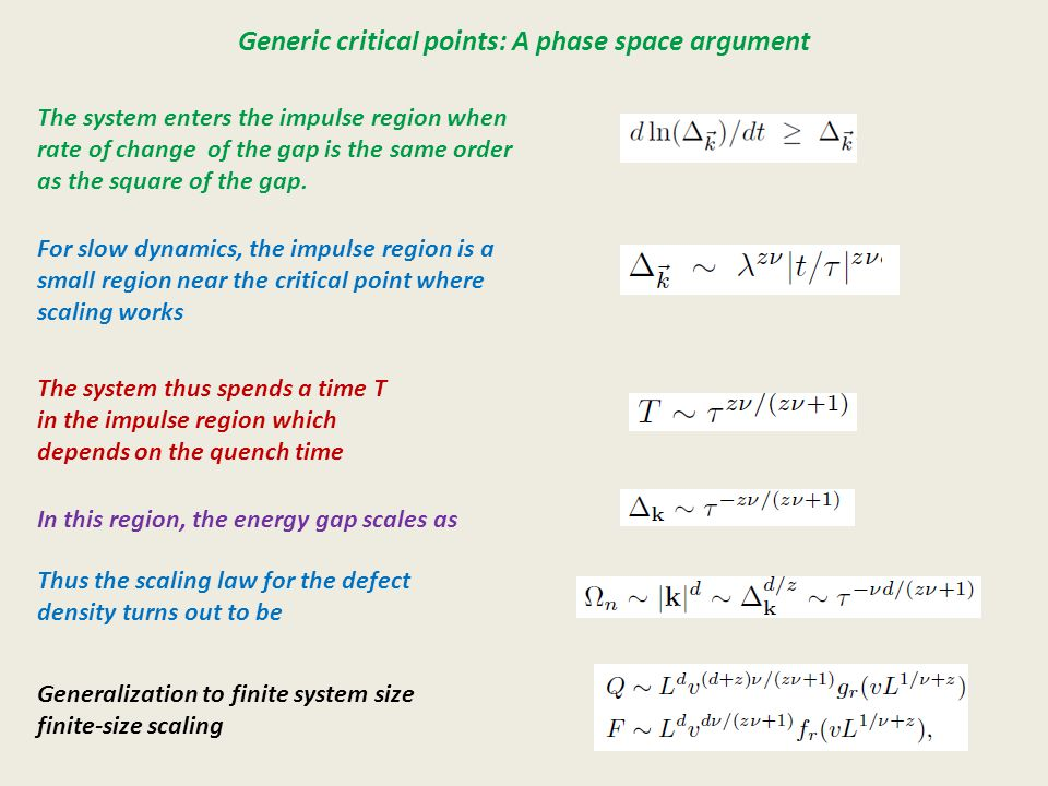 Generic critical points: A phase space argument The system enters the impulse region when rate of change of the gap is the same order as the square of the gap.