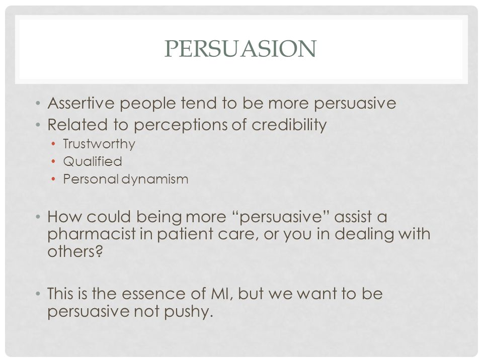 PERSUASION MI is a technique designed to persuade patients to engage lasting behavior change.