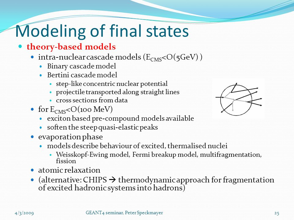 theory-based models intra-nuclear cascade models (E CMS <O(5GeV) ) Binary cascade model Bertini cascade model step-like concentric nuclear potential p