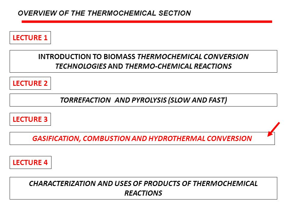 LECTURE OUTLINE A.- GASIFICATION B.- COMBUSTION C.- HYDROTHERMAL CONVERSION