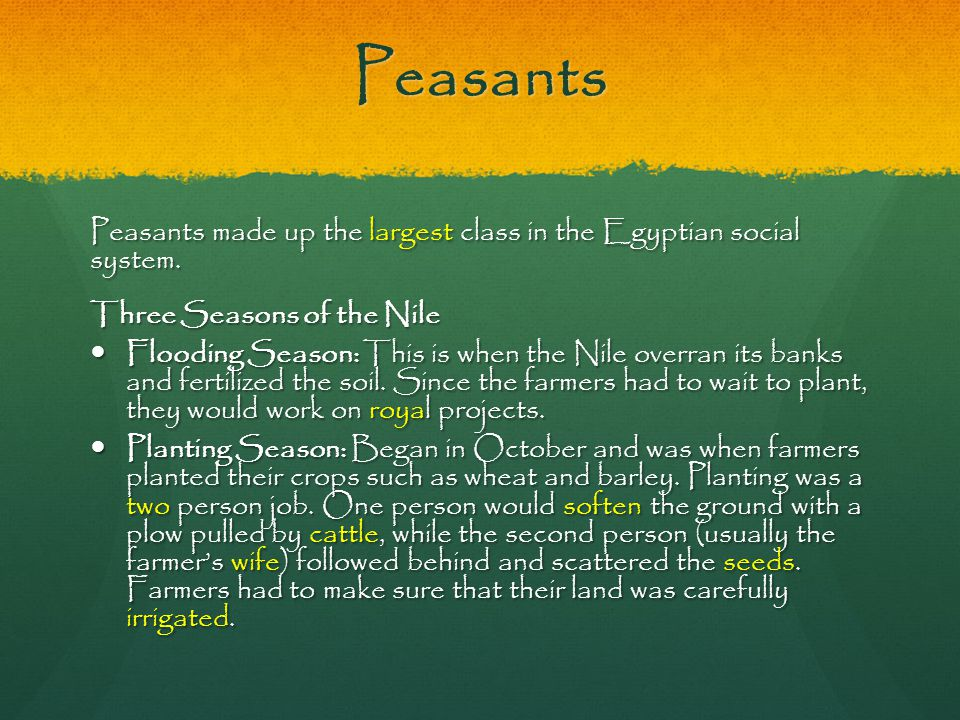 Peasants Peasants made up the largest class in the Egyptian social system. Three Seasons of the Nile Flooding Season: This is when the Nile overran it