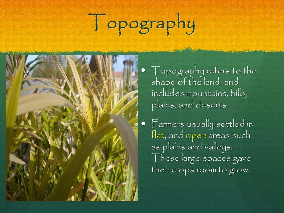 Topography Topography refers to the shape of the land, and includes mountains, hills, plains, and deserts. Topography refers to the shape of the land,