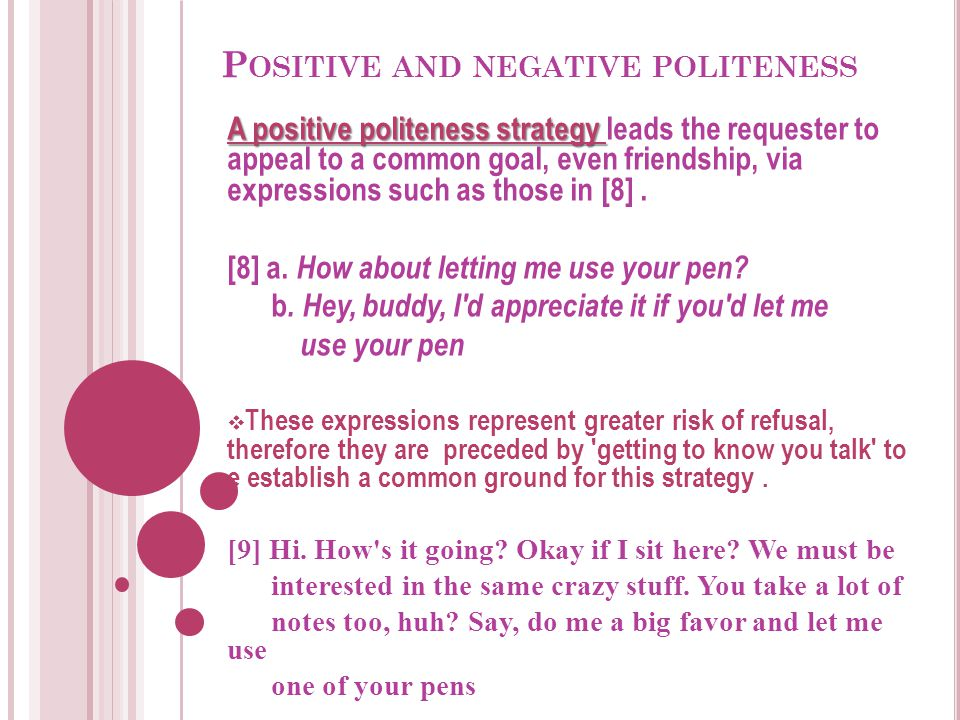 P OSITIVE AND NEGATIVE POLITENESS A positive politeness strategy A positive politeness strategy leads the requester to appeal to a common goal, even f