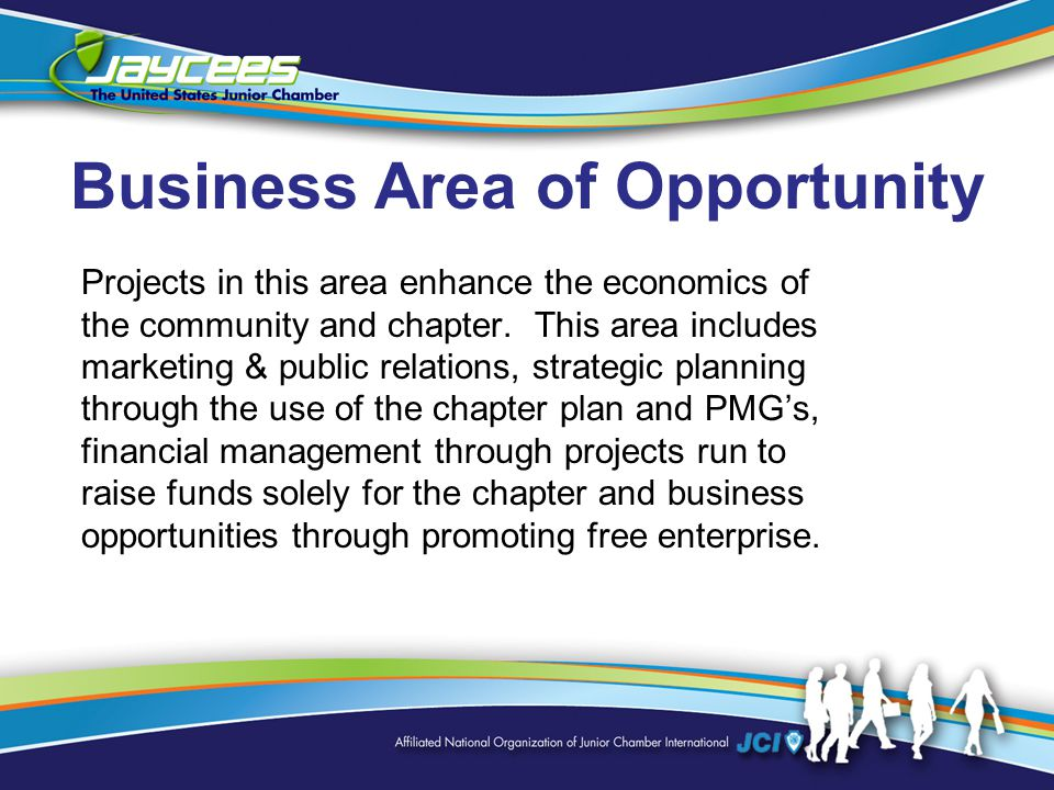 Business Area of Opportunity Projects in this area enhance the economics of the community and chapter.