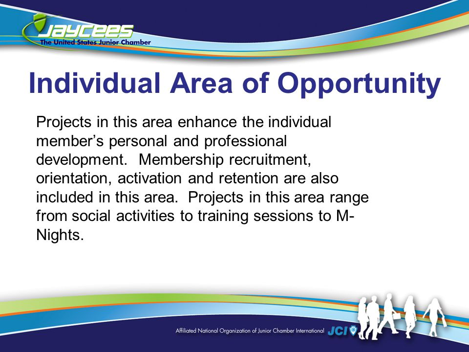 Individual Area of Opportunity Projects in this area enhance the individual member's personal and professional development.