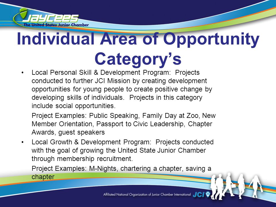 Individual Area of Opportunity Category's Local Personal Skill & Development Program: Projects conducted to further JCI Mission by creating development opportunities for young people to create positive change by developing skills of individuals.