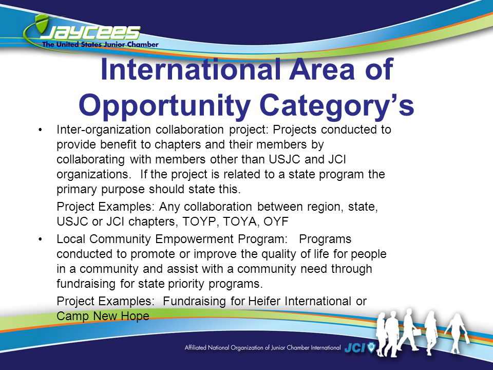 International Area of Opportunity Category's Inter-organization collaboration project: Projects conducted to provide benefit to chapters and their members by collaborating with members other than USJC and JCI organizations.