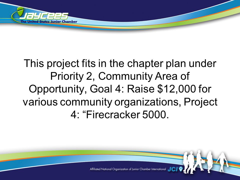 This project fits in the chapter plan under Priority 2, Community Area of Opportunity, Goal 4: Raise $12,000 for various community organizations, Project 4: Firecracker 5000.