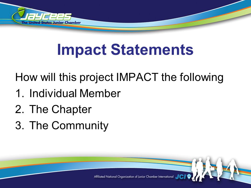 Impact Statements How will this project IMPACT the following 1.Individual Member 2.The Chapter 3.The Community