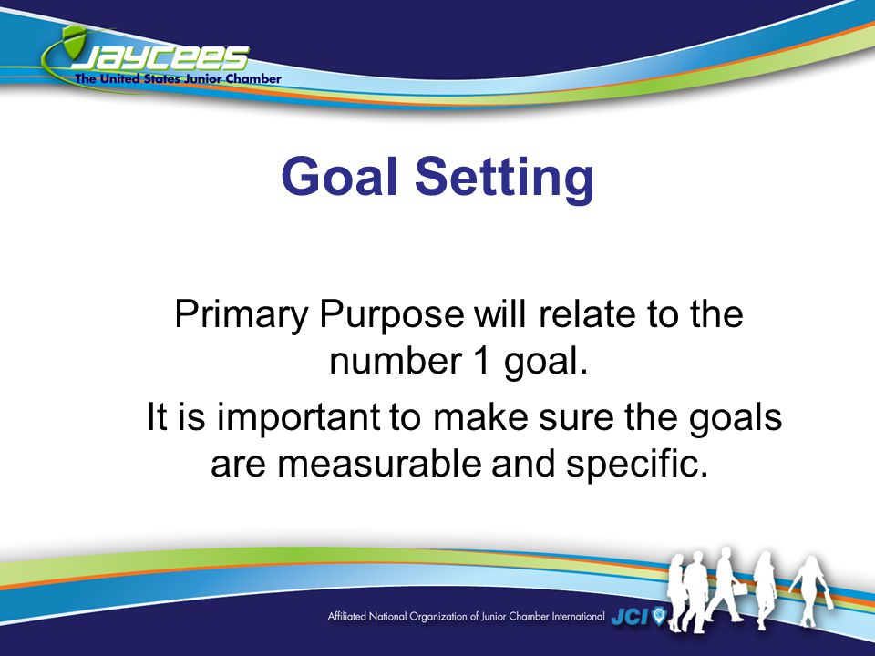 Goal Setting Primary Purpose will relate to the number 1 goal.