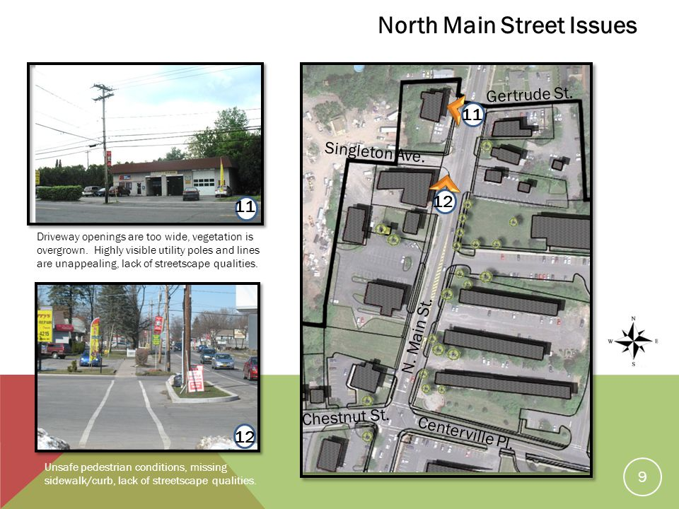12 11 Unsafe pedestrian conditions, missing sidewalk/curb, lack of streetscape qualities.