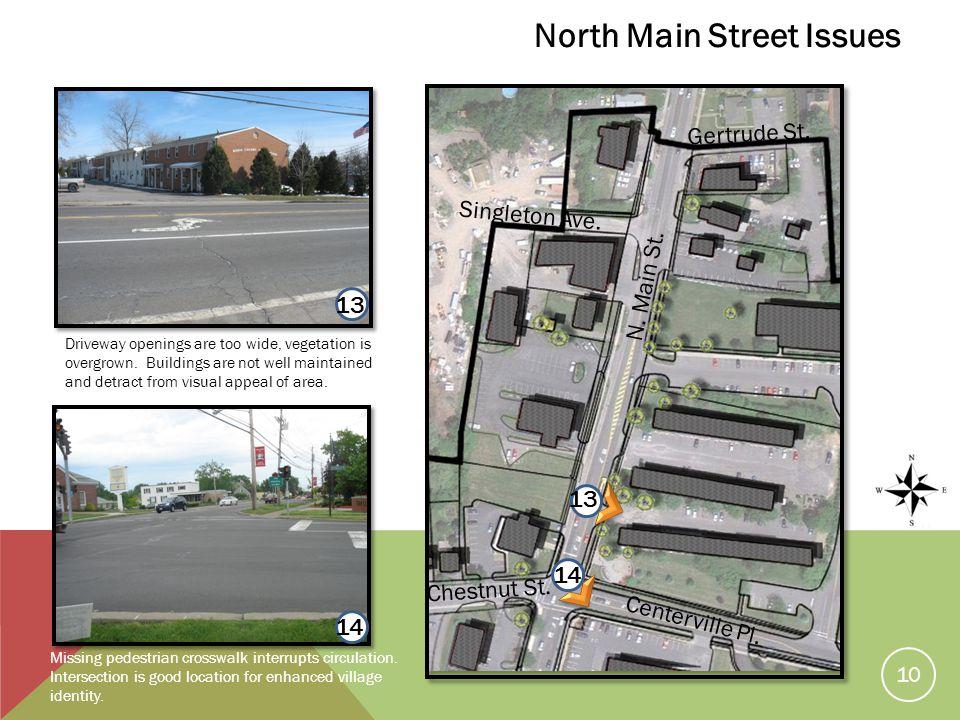 13 Missing pedestrian crosswalk interrupts circulation.