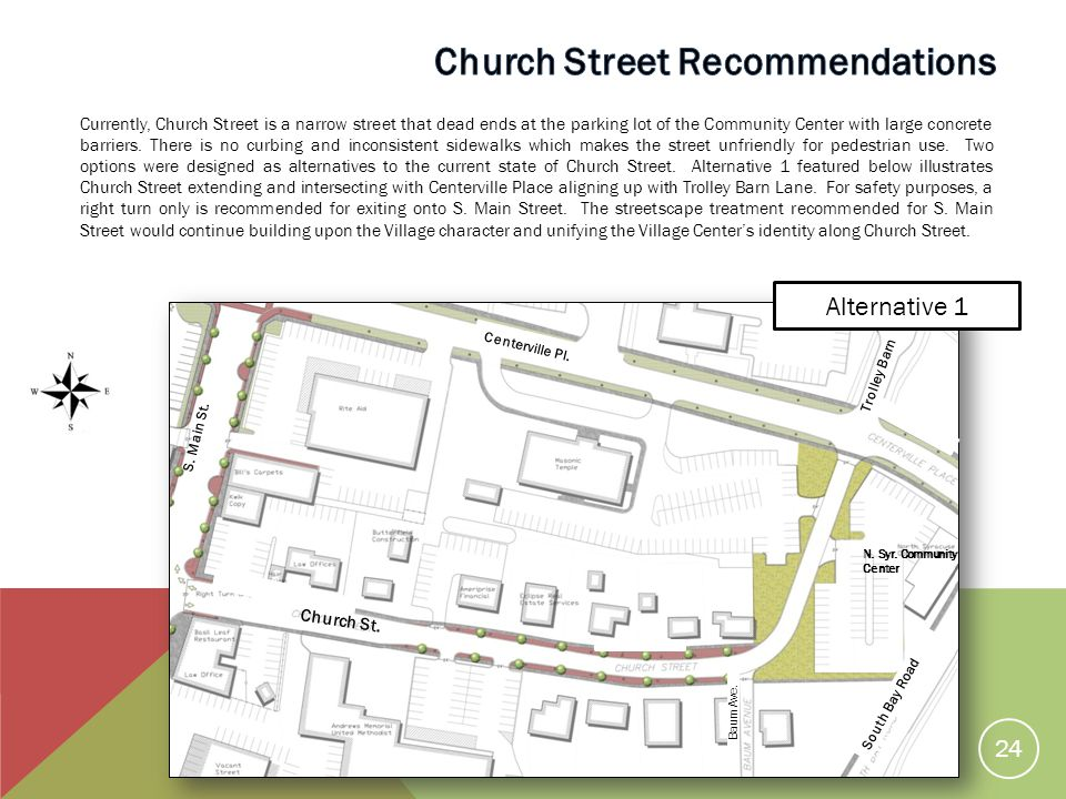 Currently, Church Street is a narrow street that dead ends at the parking lot of the Community Center with large concrete barriers.