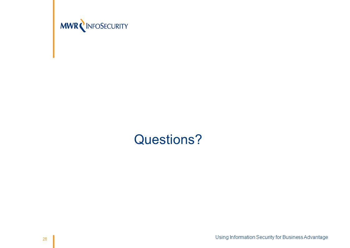 28 Questions Using Information Security for Business Advantage
