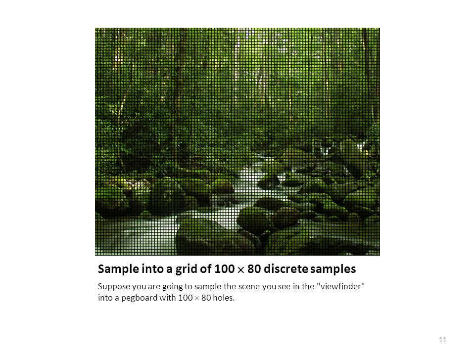 Sample into a grid of 100  80 discrete samples Suppose you are going to sample the scene you see in the