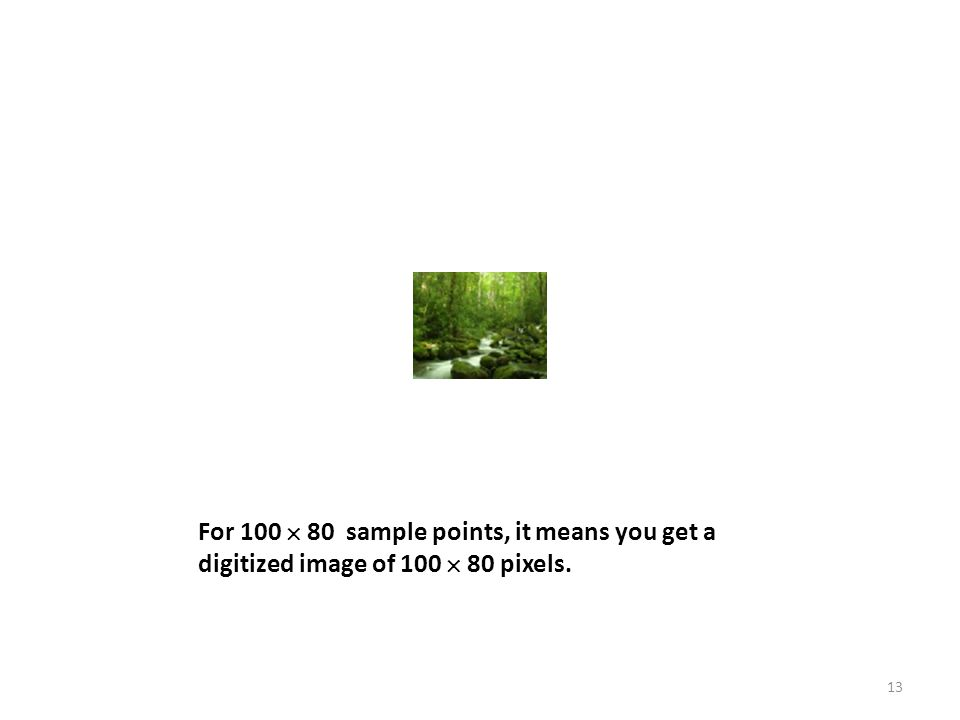 For 100  80 sample points, it means you get a digitized image of 100  80 pixels. 13