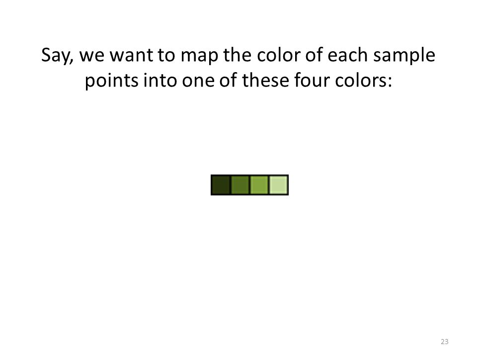 Say, we want to map the color of each sample points into one of these four colors: 23