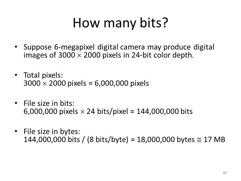 How many bits? Suppose 6-megapixel digital camera may produce digital images of 3000  2000 pixels in 24-bit color depth. Total pixels: 3000  2000 pi
