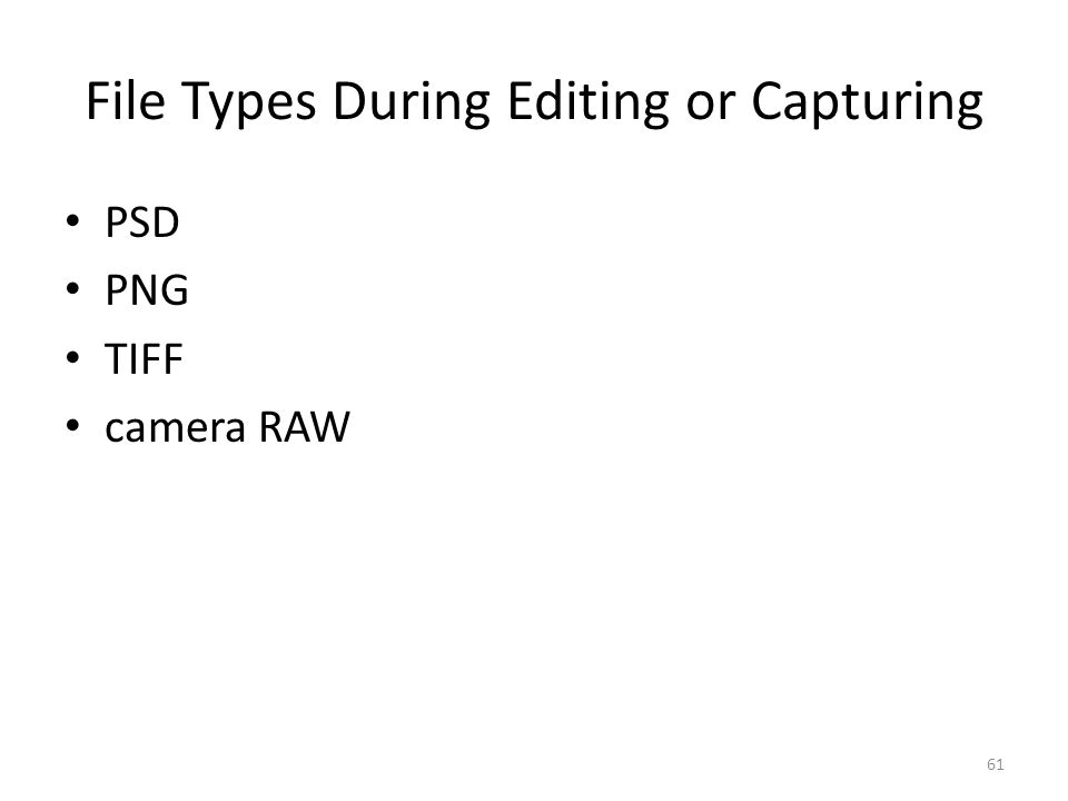 File Types During Editing or Capturing PSD PNG TIFF camera RAW 61