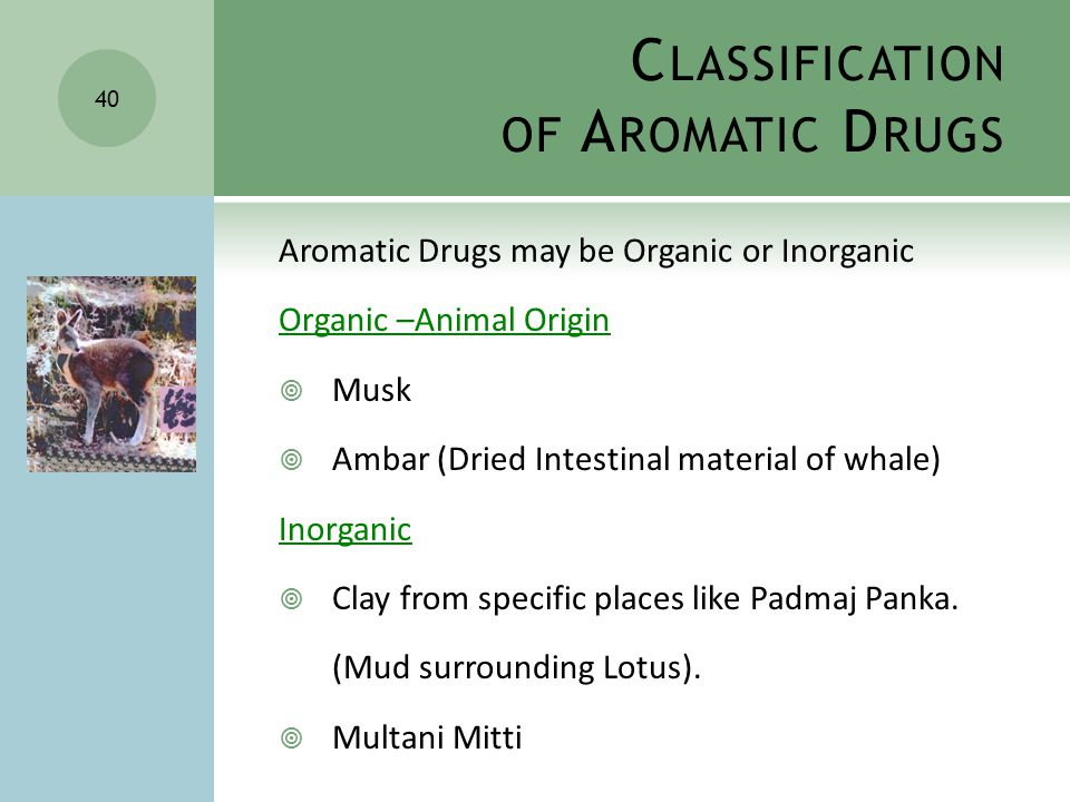 C LASSIFICATION OF A ROMATIC D RUGS Aromatic Drugs may be Organic or Inorganic Organic –Animal Origin  Musk  Ambar (Dried Intestinal material of whale) Inorganic  Clay from specific places like Padmaj Panka.