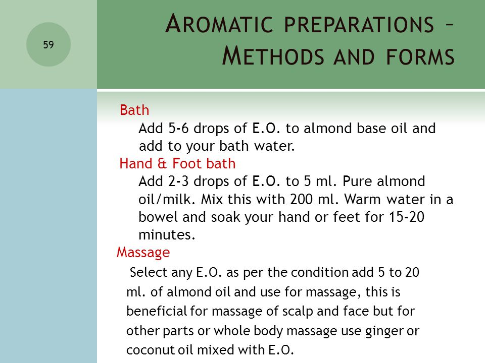 A ROMATIC PREPARATIONS – M ETHODS AND FORMS 59 Bath Add 5-6 drops of E.O.