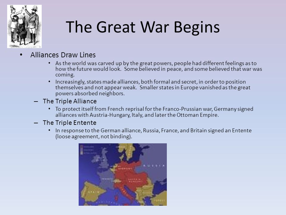 The Great War Begins Alliances Draw Lines As the world was carved up by the great powers, people had different feelings as to how the future would loo