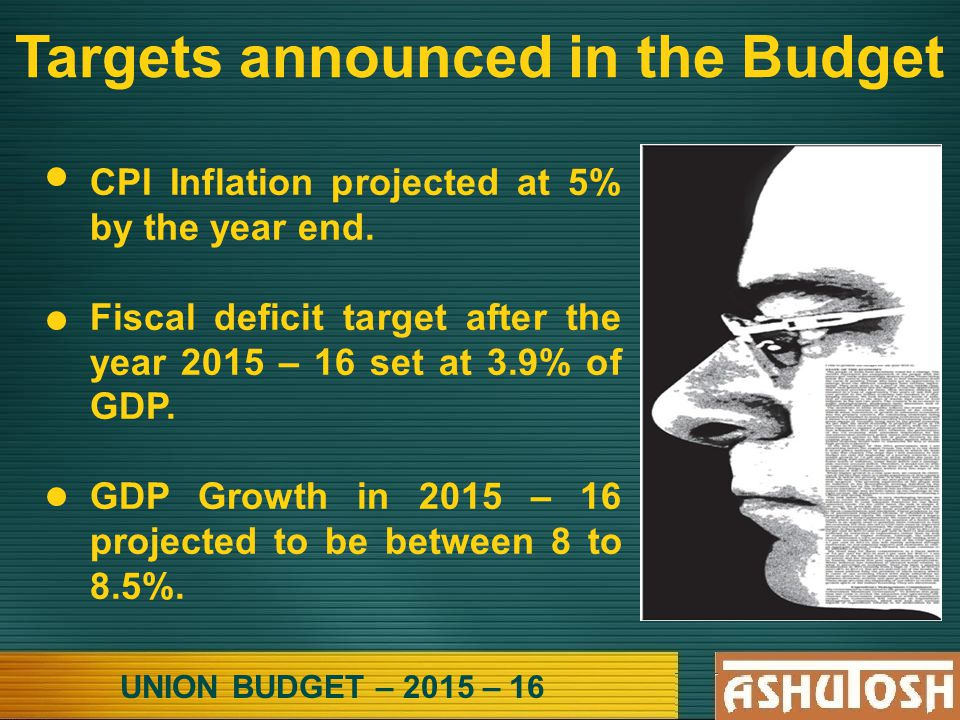 UNION BUDGET – 2015 – 16 Targets announced in the Budget CPI Inflation projected at 5% by the year end.